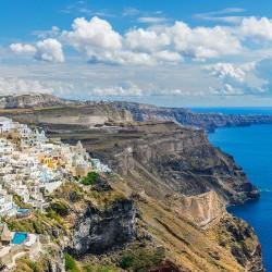 Santorini - Nowoczesny obraz drukowany na płótnie
