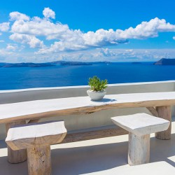 Pejzaż z Santorini - Nowoczesny obraz na płótnie