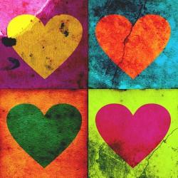 Kolorowe serduszka - Nowoczesny obraz drukowany na płótnie