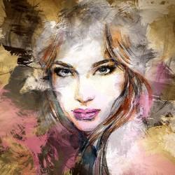 Piękna twarz kobiety - Abstrakcyjny obraz na płótnie