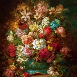 Hans Zatzka - kolorowe kwiaty, reprodukcja obrazu na płótnie
